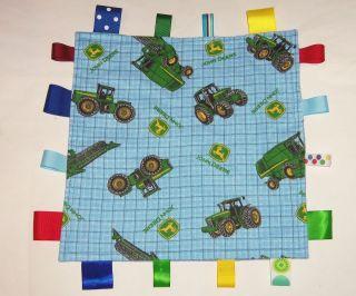 John Deere Blue Fabric Tractors Baby Boy Flannel Ribbon Blanket Shower
