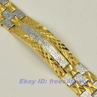 GLISTER 18K YELLOW WHITE GOLD GP BRACELET SOLID FILL GEP CHAIN LINK