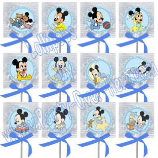 Baby Mickey Mouse Assorted Images Lollipops w/ Blue Bow Party Favors