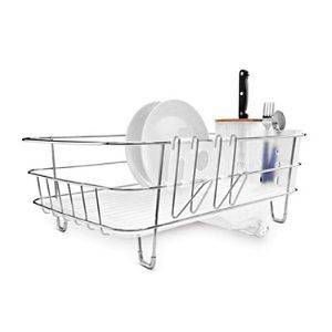 Simplehuman Slim Dish Rack Dishrack Stainless Steel with Bamboo Knife