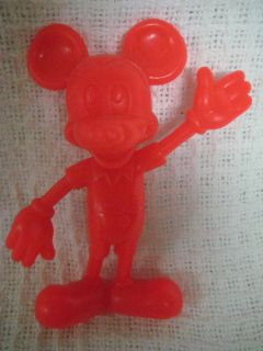 1971 MICKEY MOUSE Solid Red Plastic Figurine by Marx Co.6 Tall Disney
