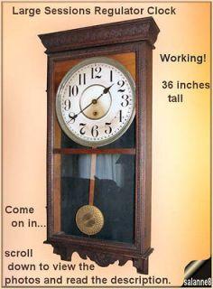 Antique Sessions Tall Regulator Clock Huge Wall Clock Pendulum Key