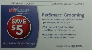 Petsmart through 2/28/13 GROOMING $5.00 off coupons $10