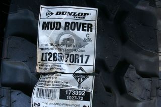 New LT 265 70 17 Dunlop Mud Rover Tires OWL 6 PLY *SHIPPING DISCOUNT