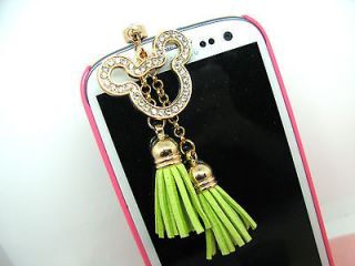 DISNEY MICKEY MOUSE LIME Fringes Headset Phone Jack Plug Dust Cover