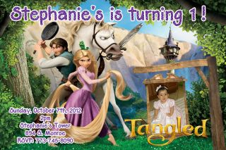 Disney Princess Tangled Birthday party photo invitation U Print Disney