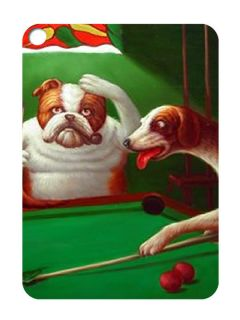 Dogs Playing Pool #1 Rectangular Key Chain [Free Shipping]