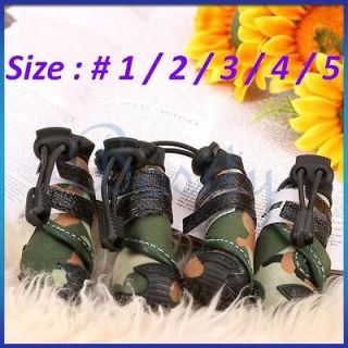 Cool Pet Dog Cat Boots Shoes Green Camo Camouflage Look Dirt Water