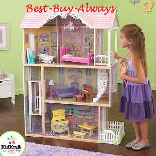 Big Wooden Doll House Set Large Kit With Furniture For Barbie And Kids