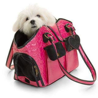 Lulu Pink Quilted Hearts Pink & Black Small Dog Carrier Bag NWT