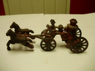 CAST IRON TOY   HORSE DRAWN FIRE PUMPER WITH DRIVER