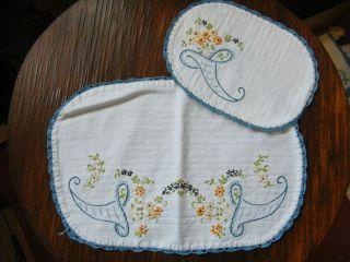 Embroidered Dresser Scarf Set 2 Off White Blue Crochet Trim Horn of