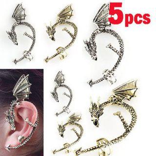Punk Style Temptation Metal Wrap Fly Dragon Ear Cuff Clip Earrings