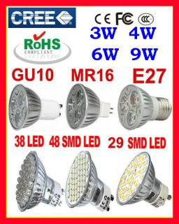 6W 9W GU10 MR16 E27 Energy Saving Spot High Power LED Light Lamp Bulb