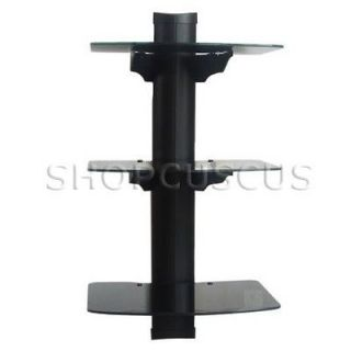 DVD Player Cable Box 3 TIER Wall Mount Shelf Stand Direct TV Glass