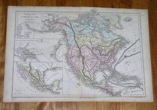 1873 MAP OF NORTH AMERICA UNITED STATES USA CANADA ALASKA