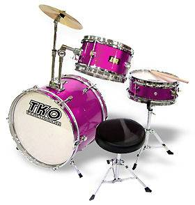 TKO 3 Piece Child Drum Set Pro Wood Shell Kids Kit Pink