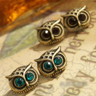 Retro Lovely Style Bronze Big Eyes Owl Ear Pin Stud Earring