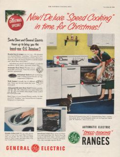 1950 VINTAGE GENERAL ELECTRIC SPEED COOKING RANGE AD