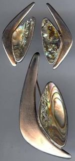 DENMARK VINTAGE MODERNIST STERLING SILVER ABALONE PIN & EARRINGS SET
