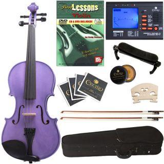 CVN P2 Ebony Fitted Solid Wood Purple Violin +Case+Tuner+Book/DVD