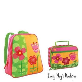STEPHEN JOSEPH FLOWER SCHOOL BACKPACK   BAG WITH MATCHING LUNCH BOX