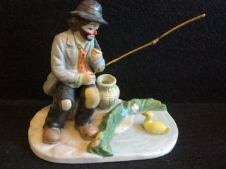 Emmett Kelly Jr.  CLOWN figurine FISHING POLE DUCK & POND HOBO FLAMBRO