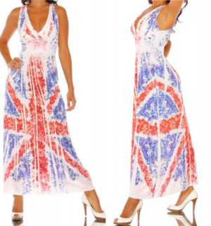 ew Red White Blue Union Jack Maxi Long Halter USA made LAST FEW