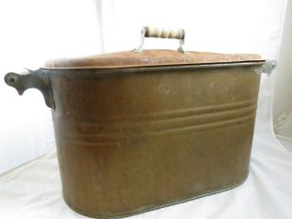 Antique Solid Copper Boiler Pot Wash Tub with Lid