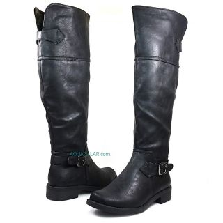 Black P Leather Women Motorcycle/Equestrian Knee High Riding Flat Boot