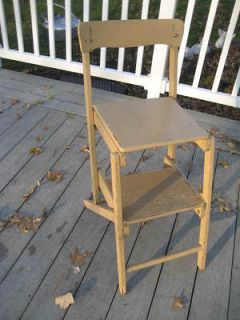 ANTIQUE   WOODEN FOLDING STEP STOOL   BEIGE OVER PALE GREEN PAINT
