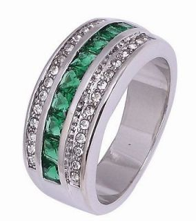 Jewelry Classic Mans Emerald Real 10KT White Gold Filled Ring #10