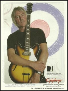 WELLER GIBSON EPIPHONE ELITIST CASINO GUITARS AD 8X11 ADVERTISEMENT