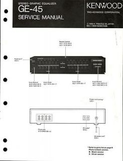 Original Kenwood GE 45 Equalizer Service Manual