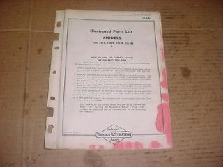 ANTIQUE VINTAGE BRIGGS & STRATTON SMALL ENGINE MOWER PARTS LIST BOOK