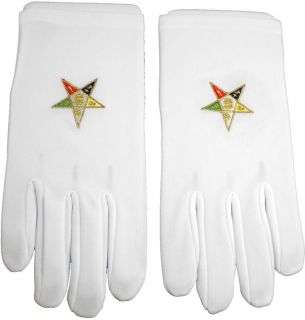 Eastern Star Emblem Embroidered Ritual Gloves