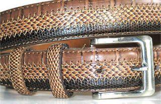 Mens Leather Belt TRI CROCO SNAKE LIZARD MEDIUM 35 36 x 1 1/4