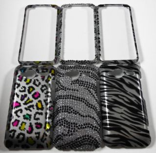 SET OF 3 PHONE COVER CASE 4 HTC EVO SHIFT 4G A7373 SPRINT ZEBRA BLING