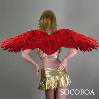 RED Feather Angel Wings Large Costume Fairy Props FREE HALO halloween
