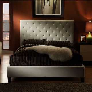 High Profile Tufted Contemporary King Taupe Fabric Platform Bed Frame