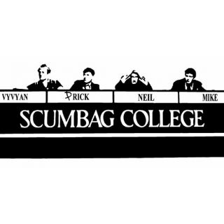 THE YOUNG ONES SCUMBAG COLLEGE UNOFFICIAL TRIBUTE CULT TV T SHIRT