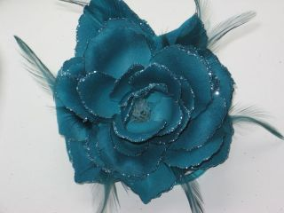 Soft Petals Rose Flower Corsage/Hair Elastic Fascinator & Brooch Pin