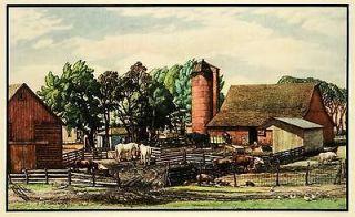 1935 Print Wissmiller Farm Horse Pasture Pig Pen Silo Farming Manure