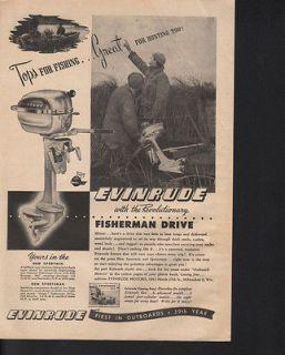 1948 EVINRUDE OUTBOARD MOTOR FISH HUNT BOAT RIVER LAKE