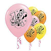 Minnie Mouse 1st Birthday Party Balloons 6ct