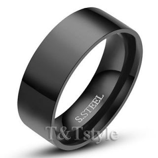 8mm Black Stainless Steel Comfort Fit Band Ring Size 13 (R114)
