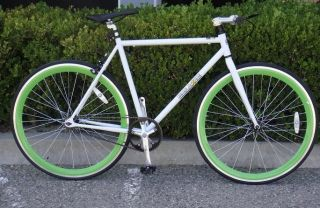 Fixed Gear Bike Fixie Bike Road Bicycle 54cm White w Deep 43mm Green