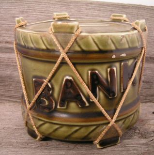 Vintage Royal Sealy Green Pottery Drum Still Bank