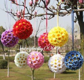 Multicolor Silk Daisy Flower Ball Gerbera Flower Wedding Party Kissing