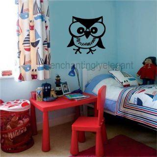 Owl Vinyl Decal Wall Sticker Kids Room Teen Room Decor Wall Art